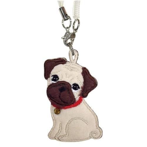 パグ ワッペンクリーナー 携帯ストラップ 携帯ピアス ペチャ犬 ワッペン 犬グッズ 犬雑貨 パグ雑貨|bluereef