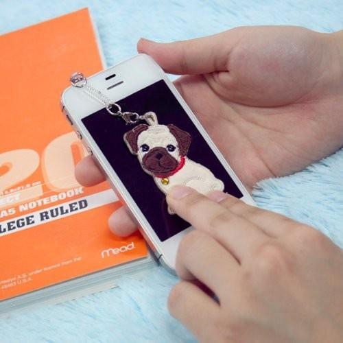 パグ ワッペンクリーナー 携帯ストラップ 携帯ピアス ペチャ犬 ワッペン 犬グッズ 犬雑貨 パグ雑貨|bluereef|03