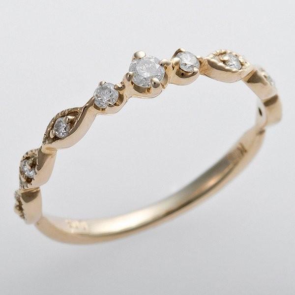 【ラッピング不可】 K10イエローゴールド 天然ダイヤリング 指輪 ピンキーリング ダイヤモンドリング 0.09ct 3号 アンティーク調 プリンセス, 美嚢郡 017297ed