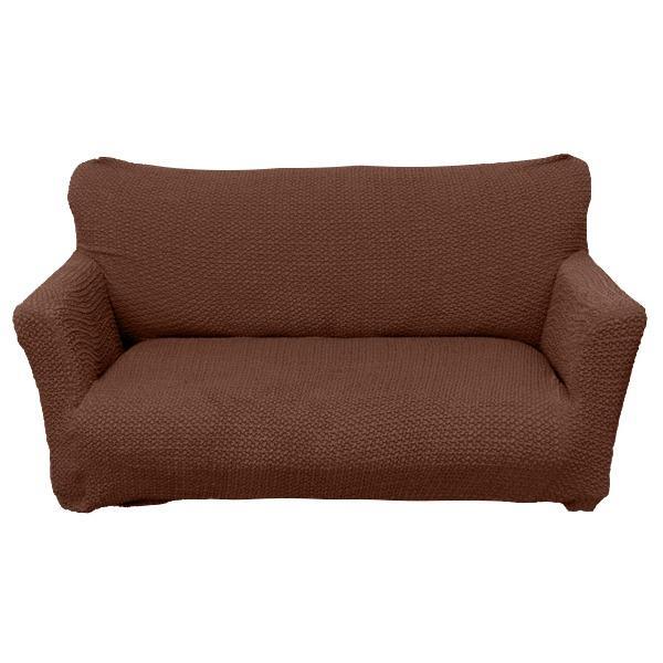 柔らかな触り心地 ソファーカバー / ソファーベッド用 3人掛け 肘なし ブラウン / ストレッチ ソファカバー 洗える 『ブレスト』 九装