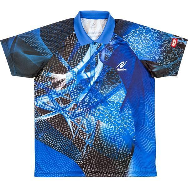 ニッタク(Nittaku) 卓球アパレル CLOUDER SHIRT(クラウダーシャツ)ゲームシャツ(男女兼用・ジュニアサイズ対応) NW2177 ブルー 3S