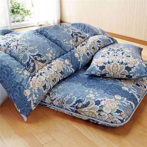 ウルトラボリューム布団セット 〔ブルー ダブル 4点セット〕 日本製 綿混 ポリエステル 〔寝室 ベッドルーム〕