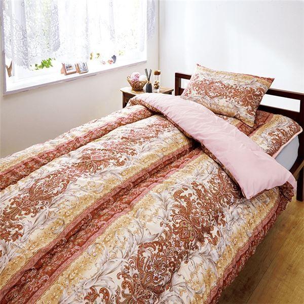 清潔仕様 布団セット/寝具 〔ピンク ダブル〕 日本製 防ダニ 抗菌 防臭 帝人製素材 〔ベッドルーム 寝室〕