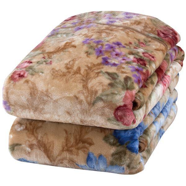 衿付き 2枚合わせ毛布/寝具 〔2色組 〔2色組 ピンク&ブルー〕 140×200cm ヤード柄 洗える 『京都西川』 〔ベッドルーム〕〔代引不可〕