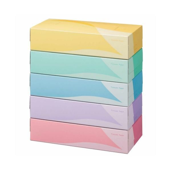 TANOSEE ティッシュペーパー 5colors 200組/箱 1セット(300箱:5箱×60パック)