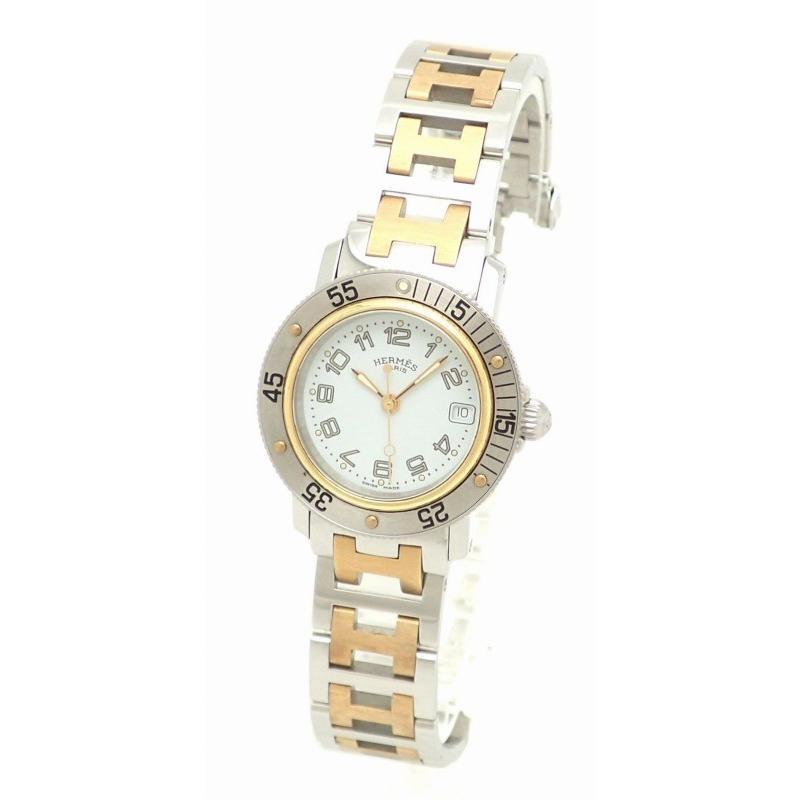 トップ (ウォッチ)HERMES エルメス クリッパー ダイバー ホワイトダイアル コンビ SS×GP レディース クォーツ 腕時計 CL5.220.130/3767 (k), コウラチョウ e7c1aa26