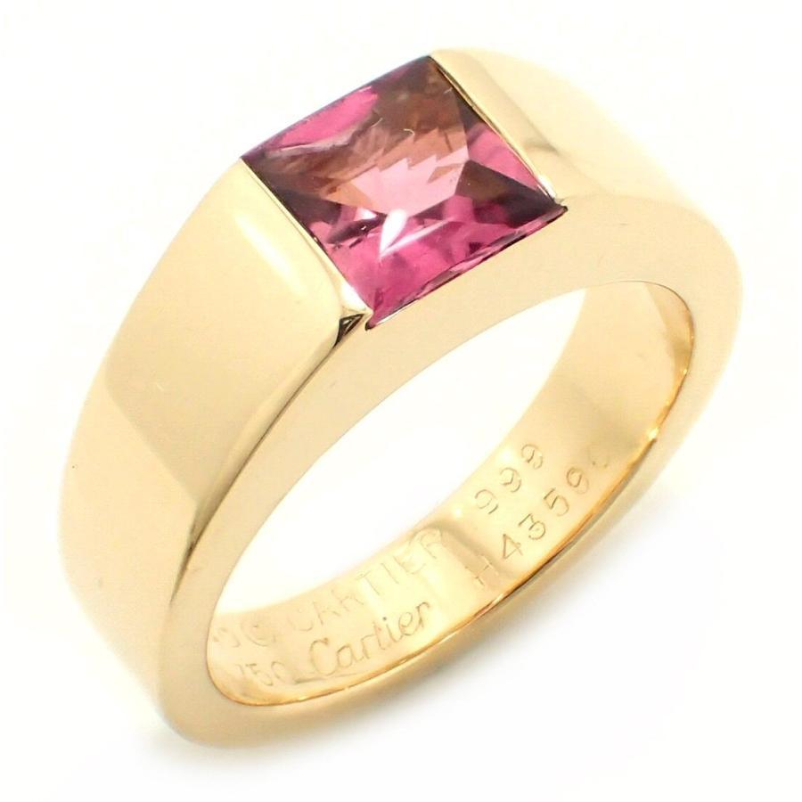上品なスタイル (ジュエリー)Cartier カルティエ ソリテール タンク リング 指輪 #49 9号 ピンクトルマリン K18YG 750YG イエローゴールド(u), 爆売り! 690ede0f