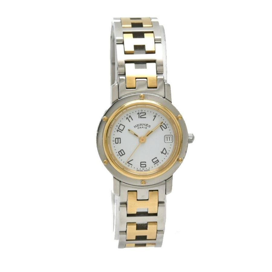 【特別セール品】 (ウォッチ)HERMES エルメス クリッパー デイト ホワイト文字盤 SS GP コンビ レディース QZ クォーツ 腕時計 CL4.220 (u), タイエイマチ 6f65185d