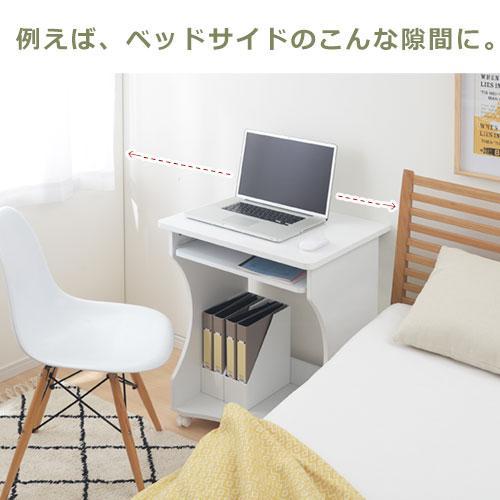 パソコンデスク オフィスデスク PCデスク パソコンラック シンプル 省スペース 木製 コンパクト サイドテーブル キャスター付き おしゃれ 収納 幅60|bon-like|03