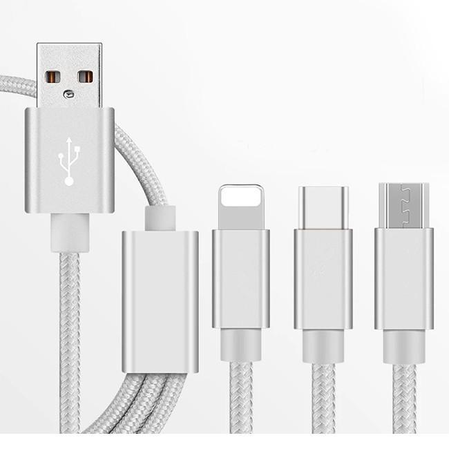充電ケーブル 3in1 iPhone Micro USB Type-C コード ナイロン編み コード 急速 bonito 16