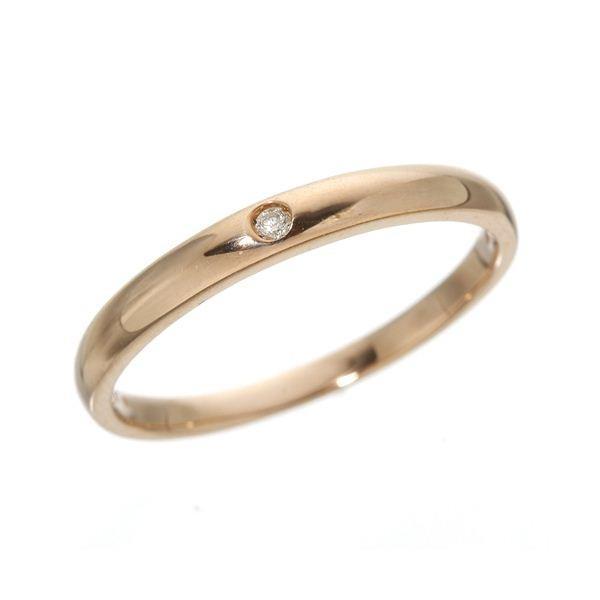 希少 黒入荷! K18PG ワンスターダイヤリング 指輪 18金ピンクゴールド 149144 19号, 印鑑の匠 75c663af