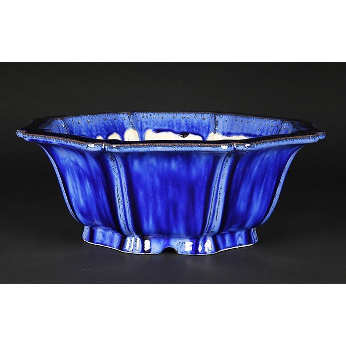 石峰雨竹製広東窯変均釉外縁輪花式鉢