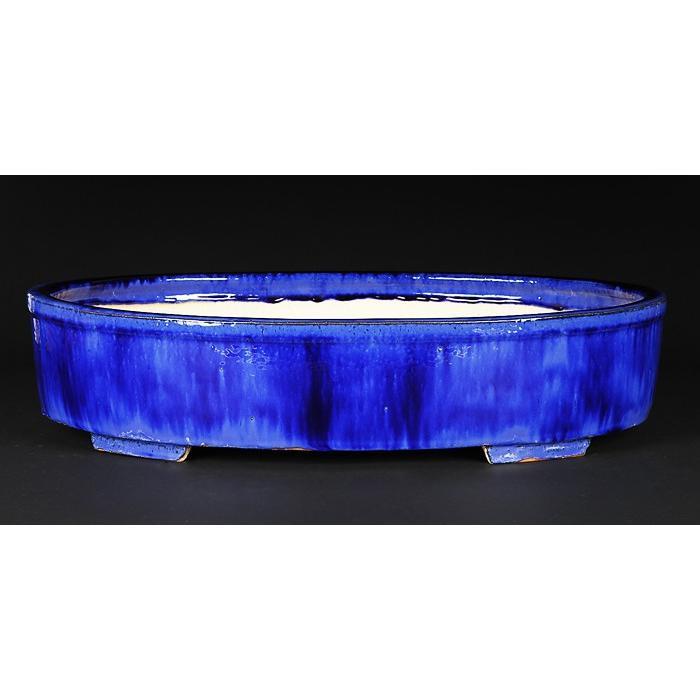 石峰雨竹製広東窯変均釉楕円鉢