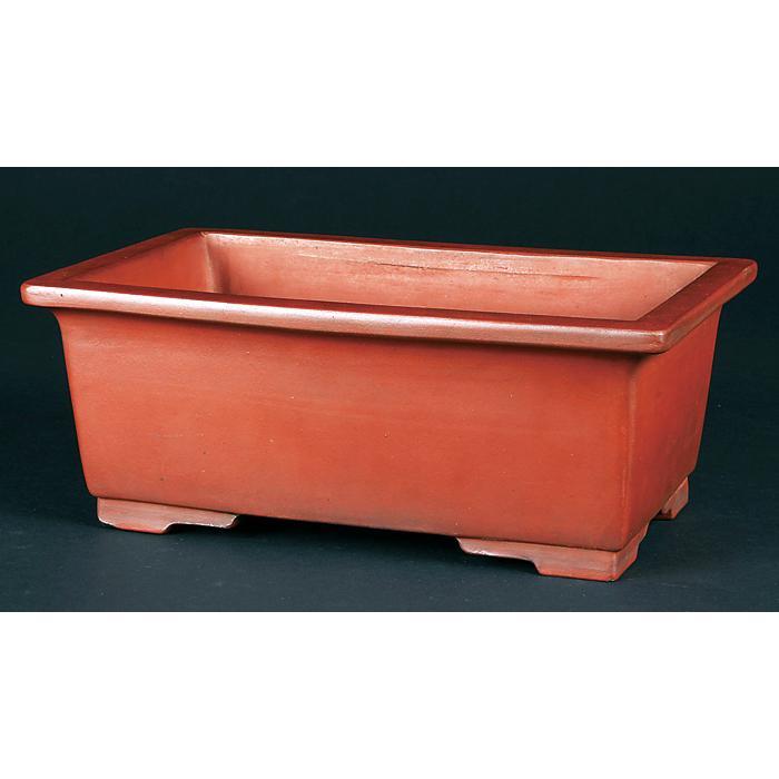 紅泥外縁段足長方鉢