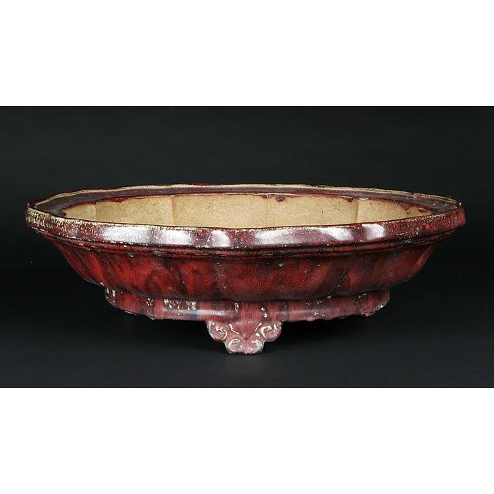 広東辰砂釉輪花式鉢