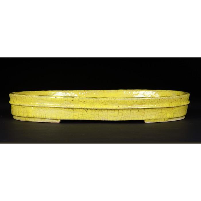 福茂黄釉楕円水盤