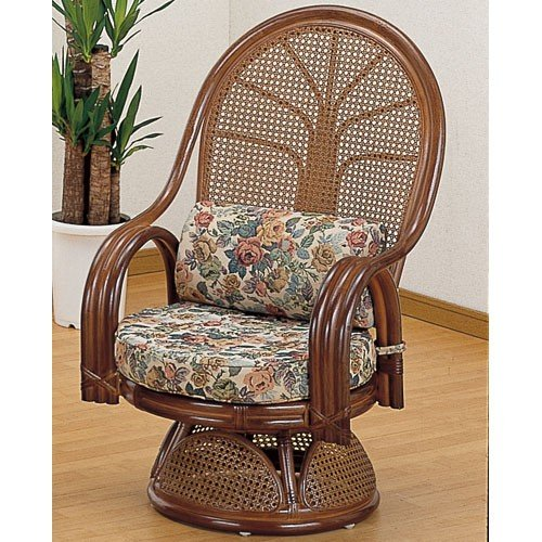 籐家具 ラタン 椅子 チェアー 座椅子 座椅子 ハイバック 回転いす ハイバックチェア パーソナルチェア アームチェア 肘掛け椅子 籐回転座椅子 ミドル tk666b