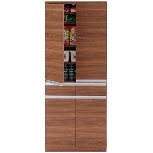 キッチンストッカー戸棚 ジャスト 幅74cm高さ180cm リアルウォールナット