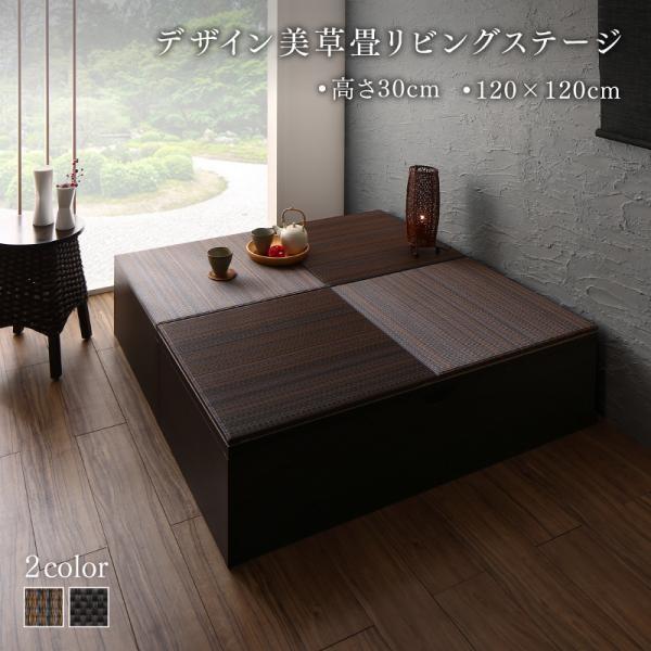収納付き畳リビングステージ 畳ボックス収納 風凛 フーリン 120×120cm 高さ30cm 美草 小上がり フレームのみ日本製 フレーム:ダークブラウン
