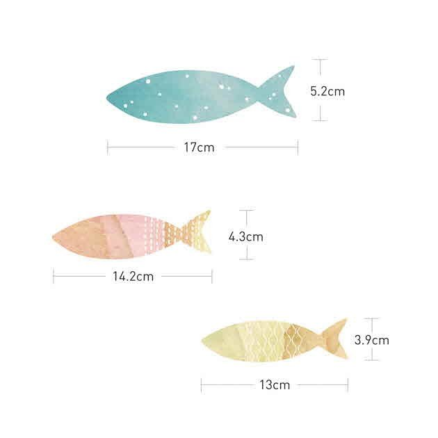 ウォールステッカー シール はがせる 壁 北欧 魚 bora 04