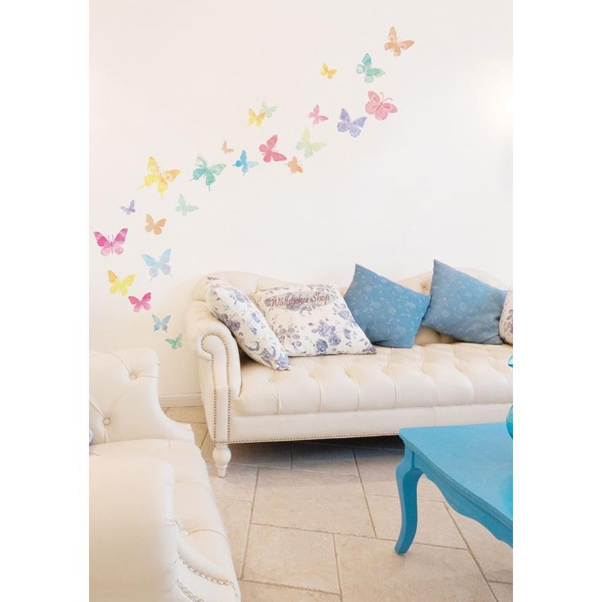 ウォールステッカー シール はがせる 壁 北欧 きれい 蝶|bora|02
