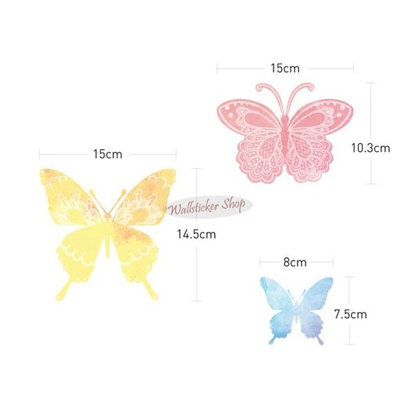 ウォールステッカー シール はがせる 壁 北欧 きれい 蝶|bora|05