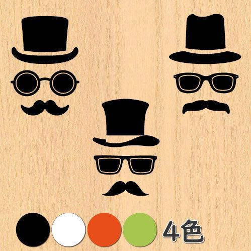 ウォールステッカー ジェントルマン 髭の紳士 メガネ ひげ 男性 シール|bora