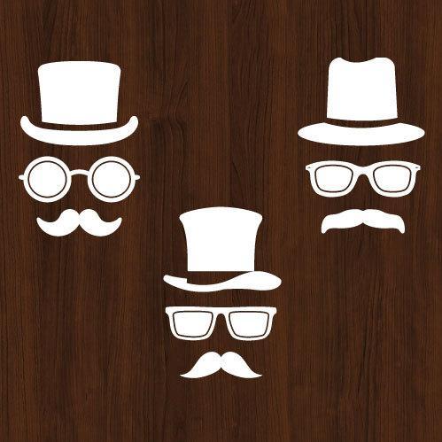 ウォールステッカー ジェントルマン 髭の紳士 メガネ ひげ 男性 シール|bora|03