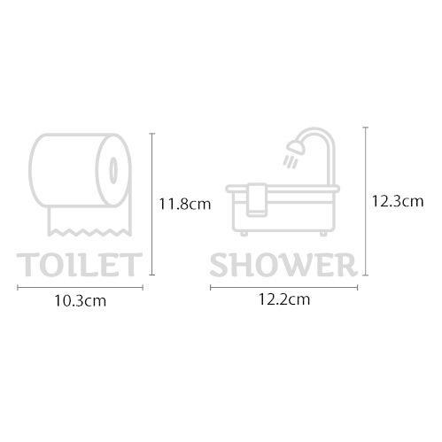 ウォールステッカー トイレ シャワー ドア 文字 お手洗い バスルーム 案内 シール toilet bora 02