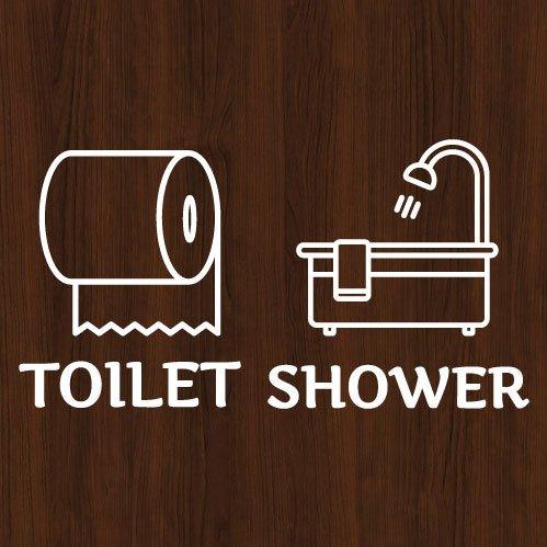ウォールステッカー トイレ シャワー ドア 文字 お手洗い バスルーム 案内 シール toilet bora 03