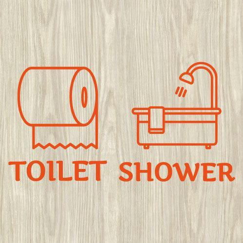 ウォールステッカー トイレ シャワー ドア 文字 お手洗い バスルーム 案内 シール toilet bora 04