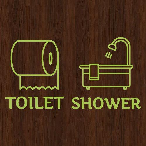 ウォールステッカー トイレ シャワー ドア 文字 お手洗い バスルーム 案内 シール toilet bora 05