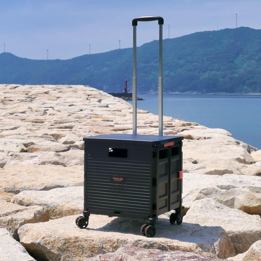 4輪コンテナキャリー 折り畳み可能キャリー 耐荷重35kg ワーケーション キャンプ ピクニック アウトドアレジャーにも役立つ4輪走行 (全4色/220-7000)|borsa-uomo|02