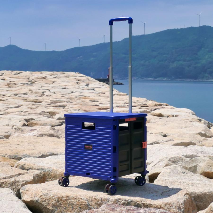 4輪コンテナキャリー 折り畳み可能キャリー 耐荷重35kg ワーケーション キャンプ ピクニック アウトドアレジャーにも役立つ4輪走行 (全4色/220-7000)|borsa-uomo|03