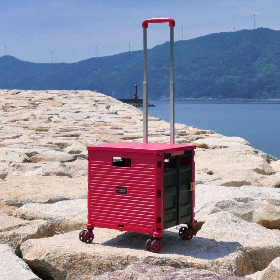 4輪コンテナキャリー 折り畳み可能キャリー 耐荷重35kg ワーケーション キャンプ ピクニック アウトドアレジャーにも役立つ4輪走行 (全4色/220-7000)|borsa-uomo|04