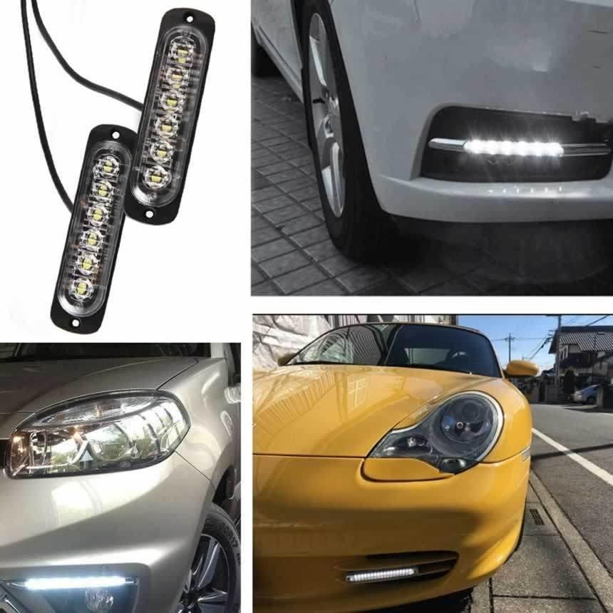 左右2セットLEDデイライト 防水 ホワイト 12V 24V車兼用 防塵 耐衝撃 6連 DRL 超薄型 デイタイムランニングライト 2-DEIRAIT|boutiqueli|04