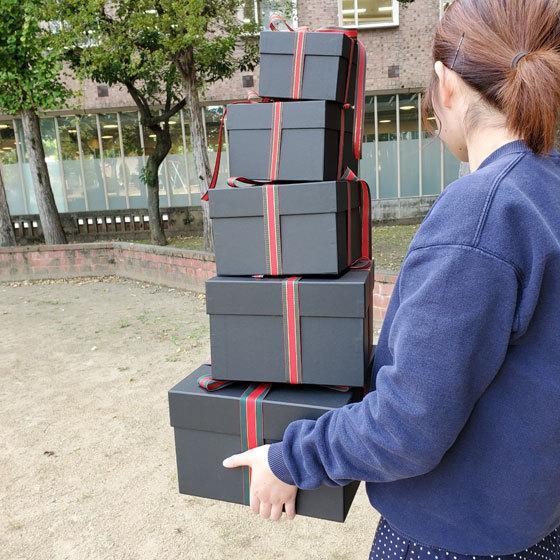 マトリョーシカBOXセット ブラック クリスマス用リボン付き|boxstore-net|04