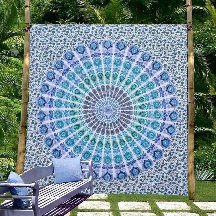 eSplanade サイケデリックな孔雀の曼荼羅の壁掛け花の金の寝具のタペストリー - - Exclusive Indian Mandala T