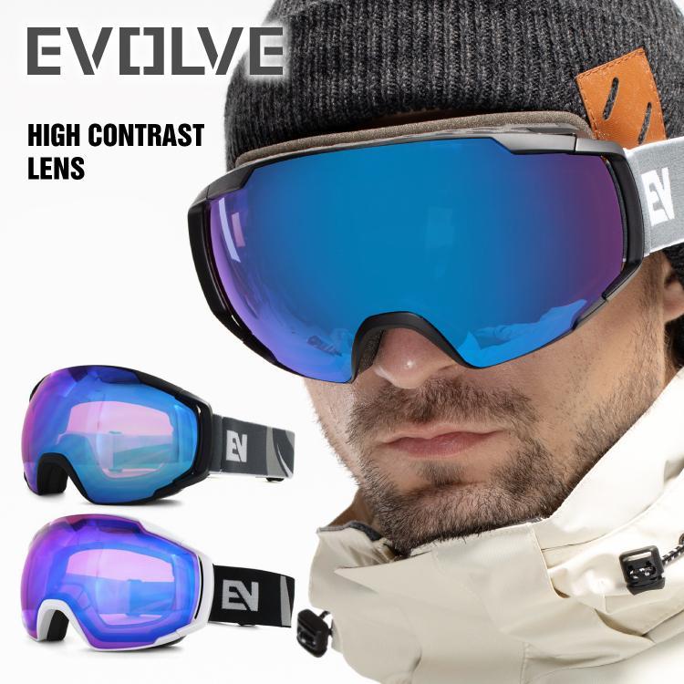イヴァルブ ゴーグル ハイコントラストレンズ ミラーレンズ アジアンフィット EVOLVE メイルオーダー EVG スノーボード スノボ 全2カラー 1218 日本製 スキー