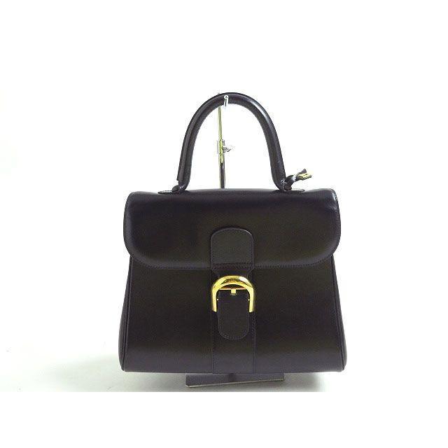 良品●デルボー DELVAUX ブリヨンMM レザーハンドバッグ ダークネイビー ゴールド金具 保存袋付き