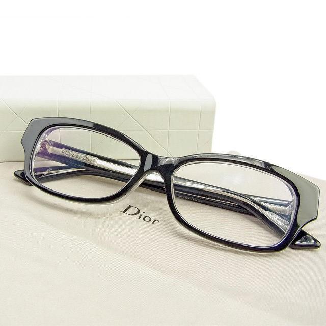 ディオール Dior メガネ ブラック レディース メンズ 中古