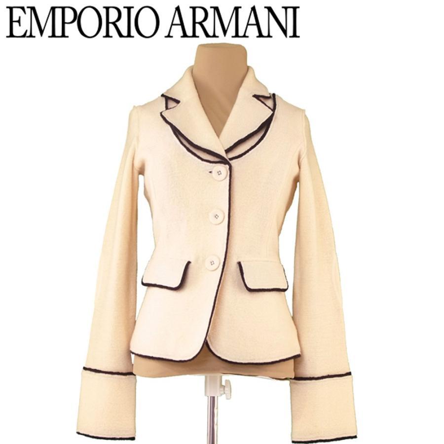 海外ブランド  エンポリオ アルマーニ ジャケット ブラックパイピング ♯40サイズ テーラード ニット EMPORIO ARMANI, バリ雑貨MANJA e54a9d6b
