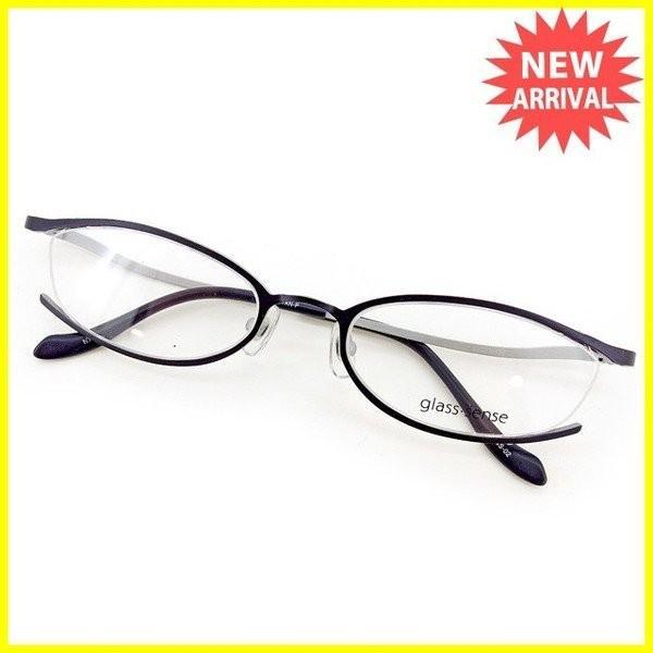 ポイント5倍 グラス センス メガネ フレーム ダークネイビー シルバー レディース メンズ 訳あり 未使用品 中古