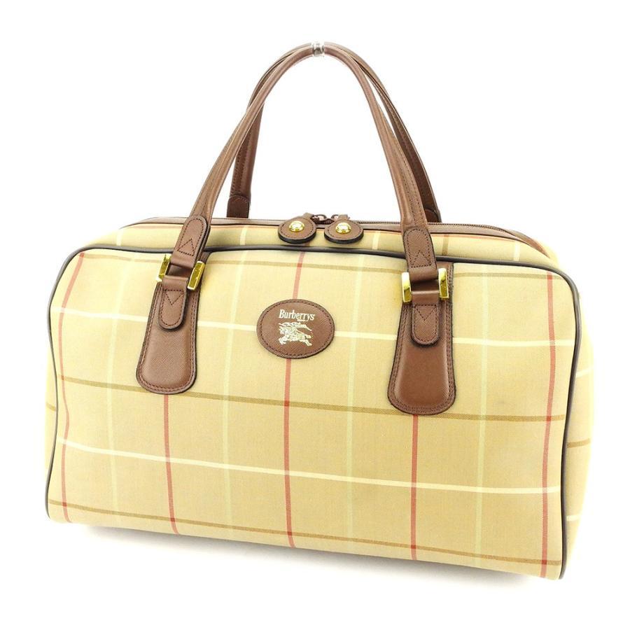 バーバリー BURBERRY ボストンバッグ トラベルバッグ 旅行用バッグ レディース メンズ 可 ホースマーク チェック 中古 良品 セール T3912