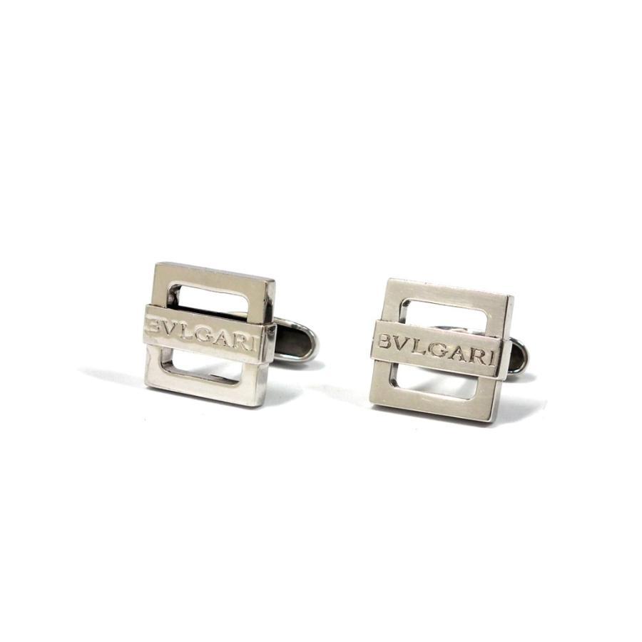 【ギフト】 美品 ブルガリ カフス スクエア ロゴ シルバー カフスボタン カフリンクス SV925 銀製品 メンズ 紳士用 BVLGARI, 代官山ワインサロン LeLuxe 7a5f60c2