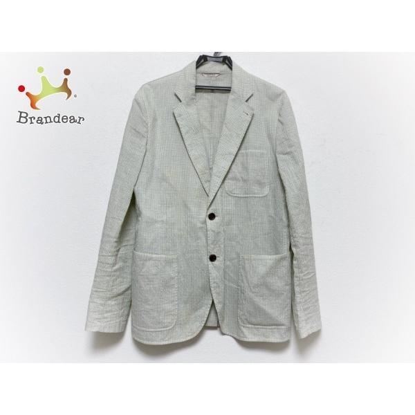 【正規品】 エルメス ジャケット サイズ50 XL メンズ 美品 白×カーキ×グレー ギンガムチェック/シルク混 新着 20200215, ANNO LUCE ROSA e3c9d630