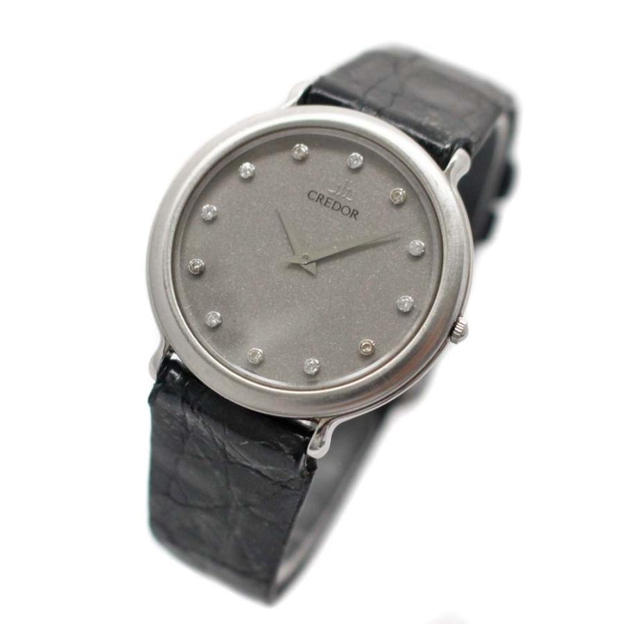 a688e5de8e セイコー クレドール ダイヤインデックス 7770-6100 腕時計 メンズ クオーツ シルバー文字盤 シルバー シルバー ブラック 腕時計  7770-6100 中古 送料無料 ...