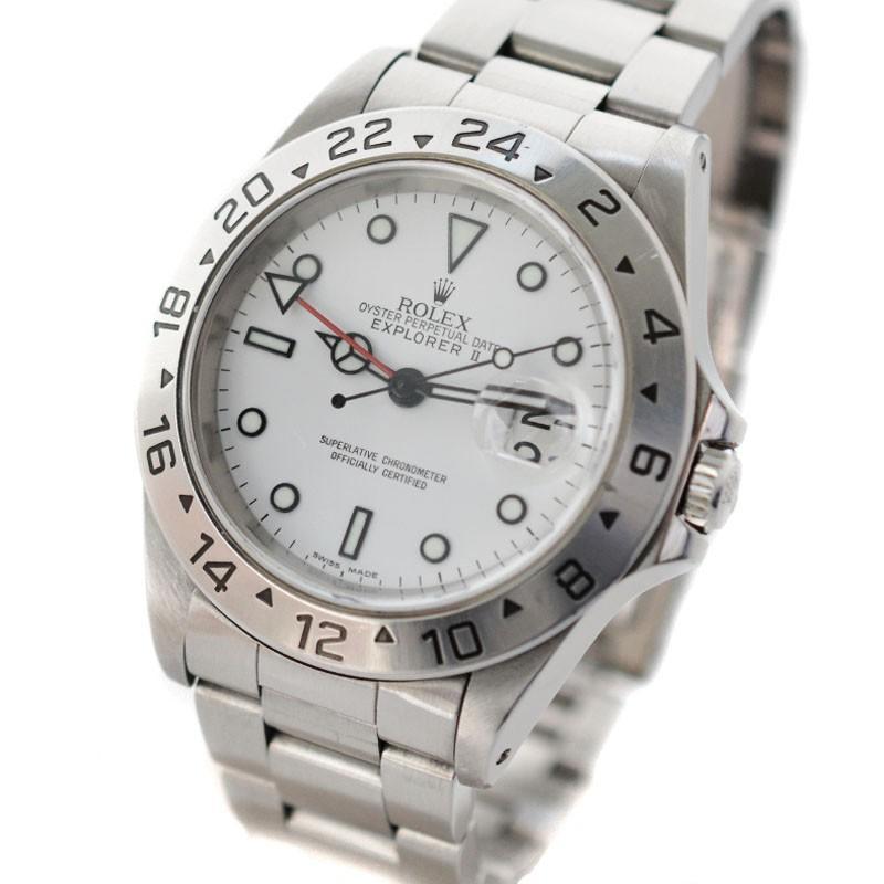 【人気沸騰】 ROLEX ロレックス エクスプローラーII Ref.16570 ロレックス メンズ メンズ 腕時計 自動巻き デイト表示 GMT機能 シルバー/ホワイト文字盤 ステンレス Ref.16570, vie jewelry:da816cae --- airmodconsu.dominiotemporario.com