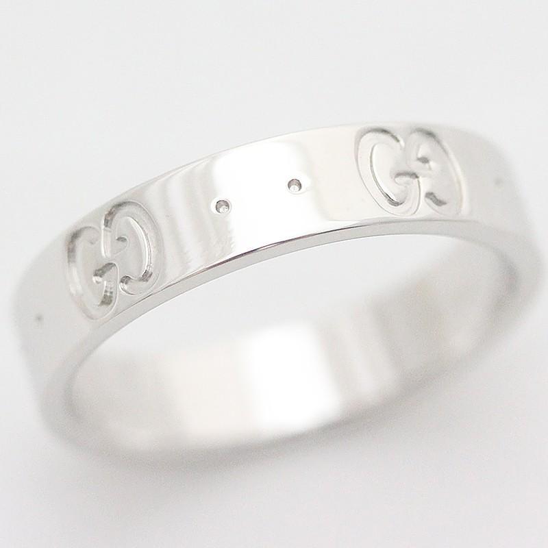 人気ショップ グッチ GG アイコンリング 750WG K18 ジュエリー 約9号 ホワイトゴールド 指輪, ゴセシ 09223bcc