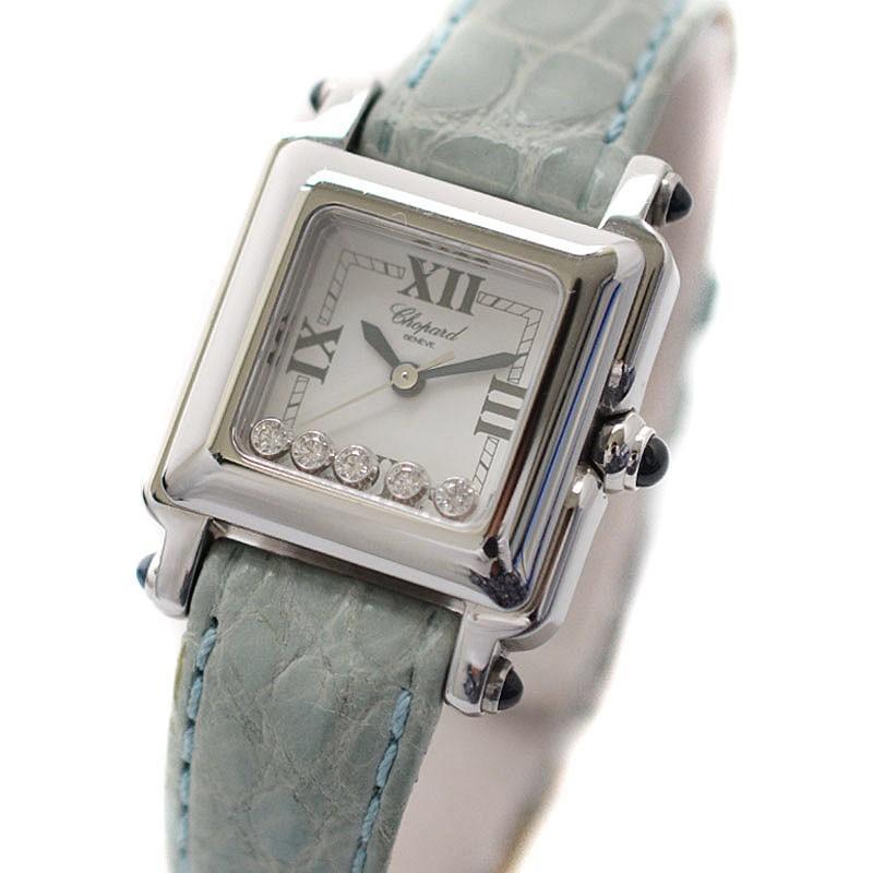 【クーポン対象外】 ショパール ハッピースポーツ スクエアミニ レディース 腕時計 クォーツ 5Pダイヤ SS/純正革ベルト ホワイト文字盤 27/8892-23, 足駄や 44e85cf7